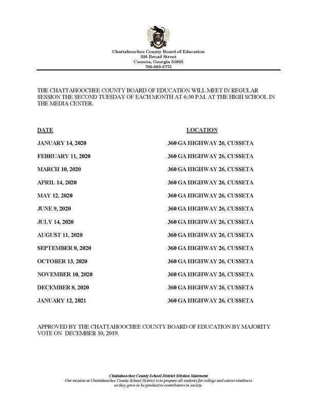 2020 School Board Dates